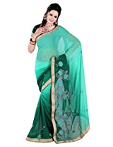 Khushali Multicolored Green Georgette Saree With Unstitched Blouse Piece
