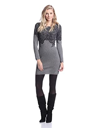 Kier & J Women's Lace Sweater Dress (Gris Moyen/Black Lace)