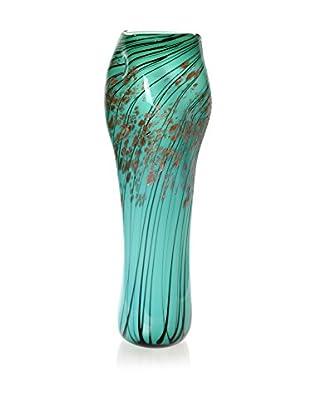 La Meridian Tall Art Glass Vase, Turquoise/Black/Gold
