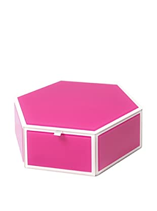Mia Collection Glass Hexagon Storage Box (Pink)