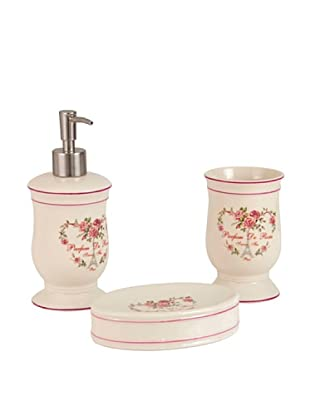 Set 3 Pezzi Bagno Divine Roses Bianco/Rosa