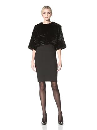 Badgley Mischka  Women's Eva Fur Cropped Coat (Black)