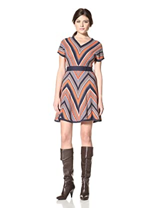 Jessica Simpson Women's Knit V-Neck Dress (Pureed Pumpkin/Multi)