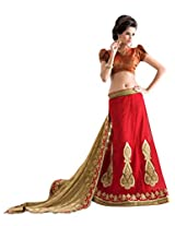 Manvaa red and beige georgette embroidered casual saree
