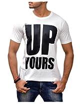 Londonhouze Men's Round Neck T-Shirt (LHW3D009XL_White_X-Large)