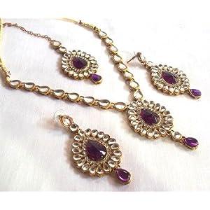 Purple kumdan necklace set