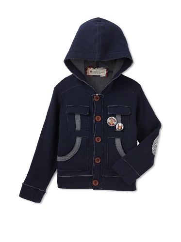 hitch-hiker Boy's Hooded Sweater Jacket (Navy Blue)