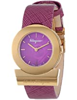 "Salvatore Ferragamo Women's FP5030013 ""Gancino"" Rose Gold Ion-Plated Watch with Saffiano Leather Strap"