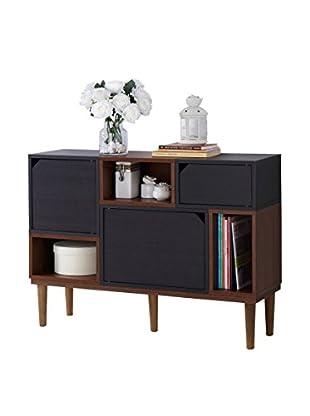 Baxton Studio Anderson Mid Century Wood Cabinet, Dark Brown