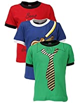 Goodway Junior Boys Colour Style-8 Theme Combo Pack of 3 T-Shirts - 5-6 Years