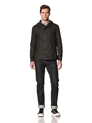 John Varvatos Star USA Men's Hooded Cotton Parka with Snaps (Black)