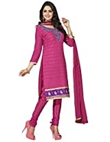 Manvaa Pink Embroidered Suit With Chanderi Cotton Fabric