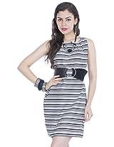 Zovi Black And White Striped Sleeveless Short Dress