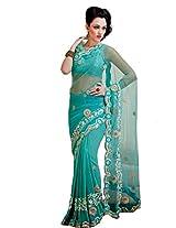 Sky Blue Party Wear Indian Saree Cut Border Designer Work Net Sari