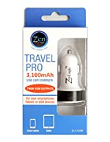 Zen Logic ZL-3.1CCBK Dual USB Car Charger for Universal/SmartPhones - Retail Packaging - White