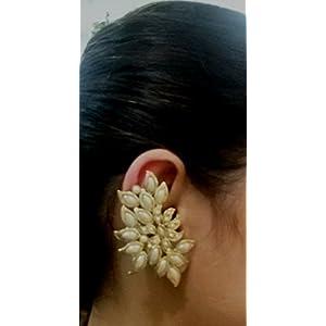 Deco Junction Pearl Clip-On Earring For Women (White )