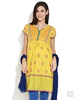 Biba Studded For Style Kurti With Tie-Up -Yellow-M