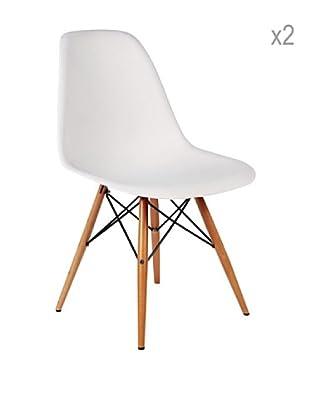 Lo+deModa Set De 2 Sillas Wooden Color Edition Blanco