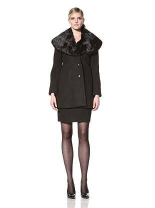 Ivanka Trump Women's Coat with Faux Fur Collar (Black)
