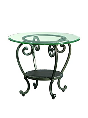 Bassett Mirror Company Dauphine Round End Table, Pewter