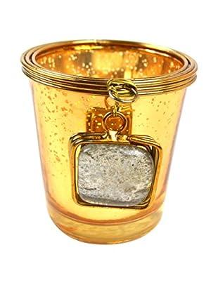 Rojo 16 Gold Glass Votive Holder, Gold/Gold