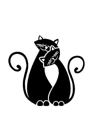 Ambiance Live Wandtattoo Cats in Love schwarz