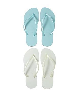 Havaianas Unisex Flip Flop - 2 Pack (White/Aqua)
