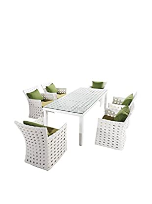 International Designs USA Coral 7-Piece Dining Set, White