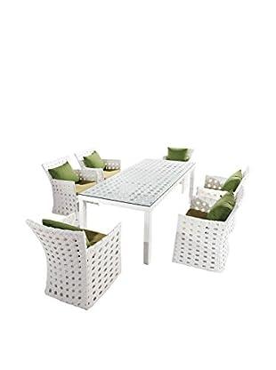 International Designs USA Coral 7-Piece Dining Set, White
