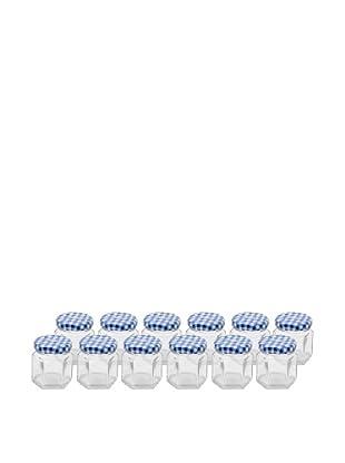 Kilner Set of 12 Blue/White Hexagonal Twist Top 48ml/1.6 fl oz. Jars