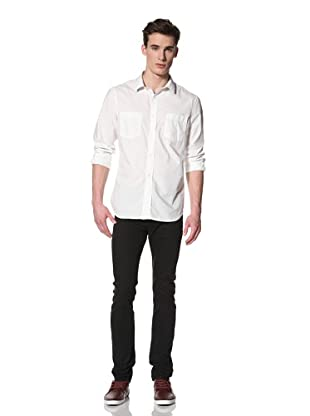 French Connection Men's Walk The Plank Button Front Shirt (Milk)