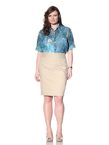 Z from Zenobia Women's Plus Gathered Short Sleeve Blouse (Lagoon)