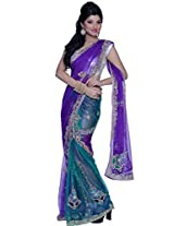 Amethyst Violet and Teal Blue Net Embroidered Lehenga Style Saree