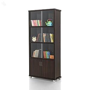 Bookshelf Sliding Doors with Dark Finish - Sleek