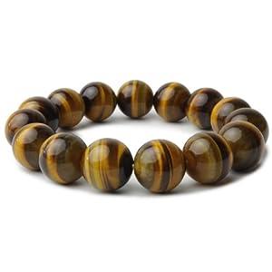 【クリックで詳細表示】天然石 パワーストーン ブレスレット 15mm メンズ 数珠 バングル (タイガーアイ) [ジュエリー]