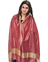 Exotic India Plain Dupatta from Jharkhand with Woven Stripes on Border - Color Virtual PinkColor Free Size