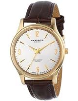 Akribos XXIV Men's AK539YG Gold-tone Swiss Quartz Brown Leather Strap Watch