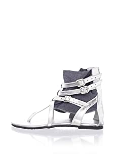 Pazitos Picaroz Girl's Ankle Wrap Sandal (Denim)