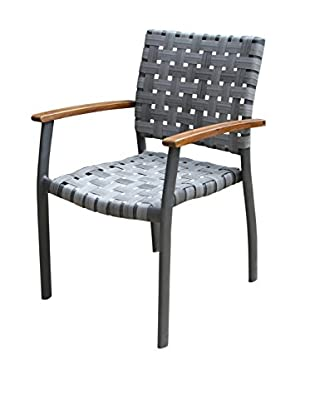 Outdoor Interiors Set of 4 Woven Resin Stacking Arm Chairs, Charcoal