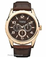 Bulova Caravelle Mens Date Watch - Gold-Tone - Black Dial - Brown Leather Strap. 44C100