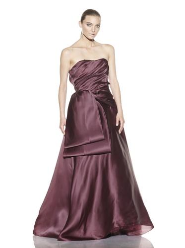 Christian Siriano Women's Silk Looped Sash Ball Gown (Wine)