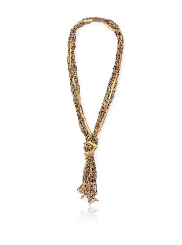 La Croix Rousse Knotted Bead Necklace, Gold/Multi