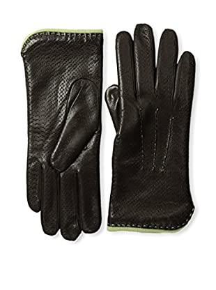 Portolano Women's Textured Leather Gloves with Contrast Lining (Teak/Baby Mint)