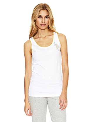 US Polo Assn Camiseta Sin Mangas Logo Strass (Blanco)