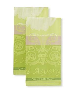 Garnier-Thiebaut Set of 2 Les Aspereges Blanches Kitchen Towels, Vert, 22