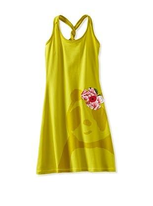 Zolima Panda Girl's Dress with Appliqué (Warm Olive)