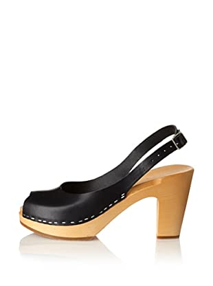 Swedish Hasbeens Women's Peep-Toe Slingback (Black/nature)