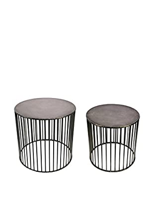 Sagebrook Home Stratton Set of 2 Round Metal Tables, Natural