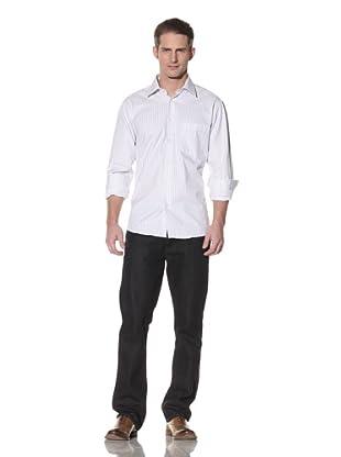XMI Men's Striped French Cuff Shirt (White)