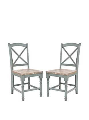 Safavieh Set of 2 Janis Side Chairs, Pale Blue/Light Oak